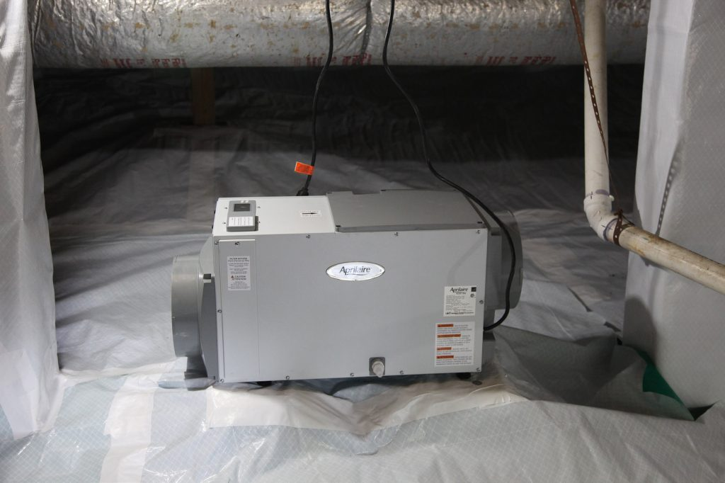 Aprilaire Crawl Space Dehumidifier used with Crawl Space Encapsulation.